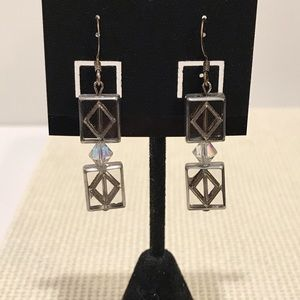 Silver and glass pierced earrings.